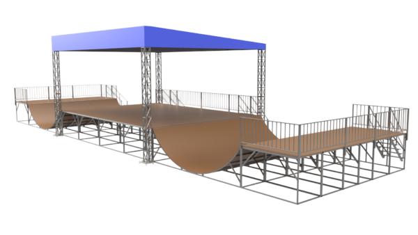 Сборно-разборная сцена скейт-площадка 26х7 метров