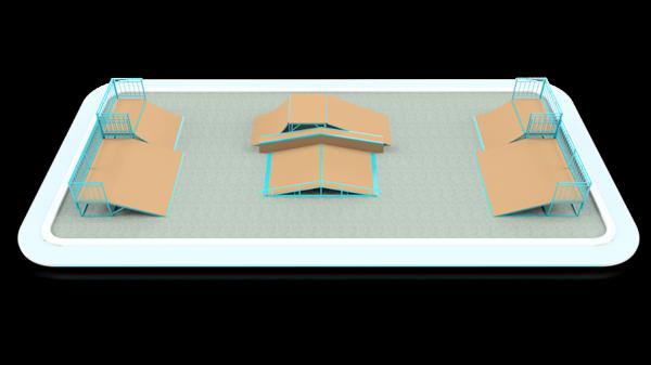 Готовое решение скейт-площадки 20×9 м (вер. 2)